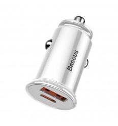 Baseus Circular Plastic, Autolaadija USB-port Quick Charge 4.0, PD 3.0 + Type-C 30W - Valge