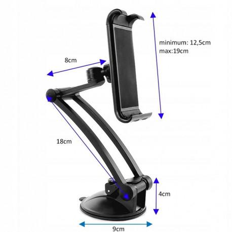 Forever MTH-200, telefoni ja tahvelarvuti kinnitus, 12.5 kuni 19.5cm, jala pikkus 25cm - Must