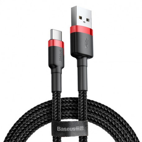 Baseus Cafule, Kaabel, juhe USB Male - USB Type-C Male, 2A, 2m - Punane-Must