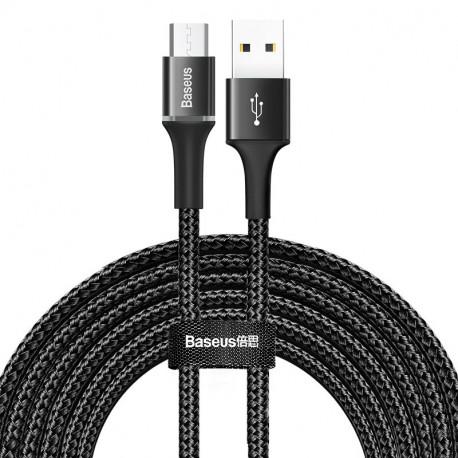 Baseus Halo, Kaabel, juhe USB Male - MicroUSB Male, 2A, 3.0m - Must