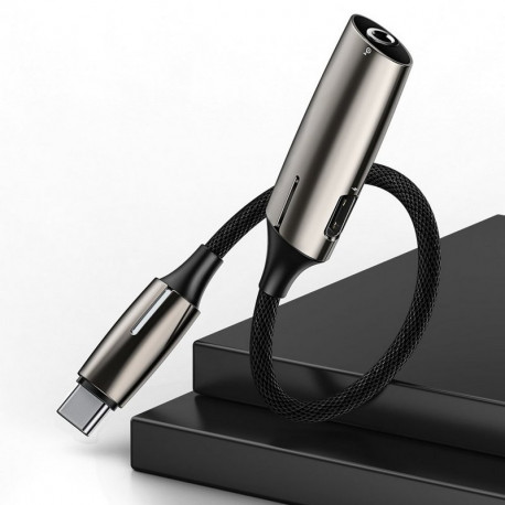 Baseus L60, Üleminek, adapter USB Type-C Male - USB Type-C Female + AUX 3.5mm Female - Must